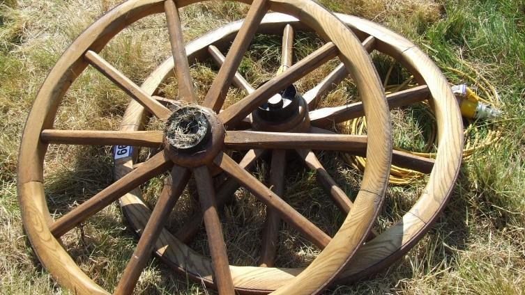 £58 - Lot 199: Wooden Spoked Cart Wheels