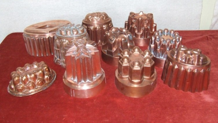 Copper jelly moulds £650