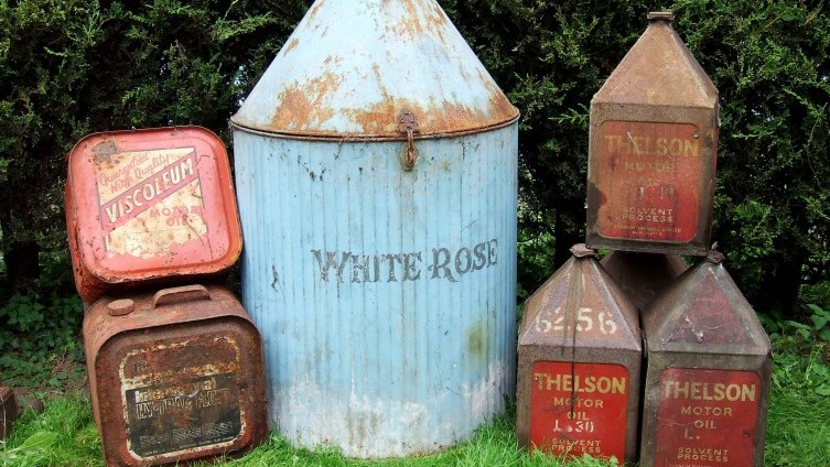 White Rose Oil Cabinet SOLD £105; Thelson Cans £90; Viscoleum Cans £48