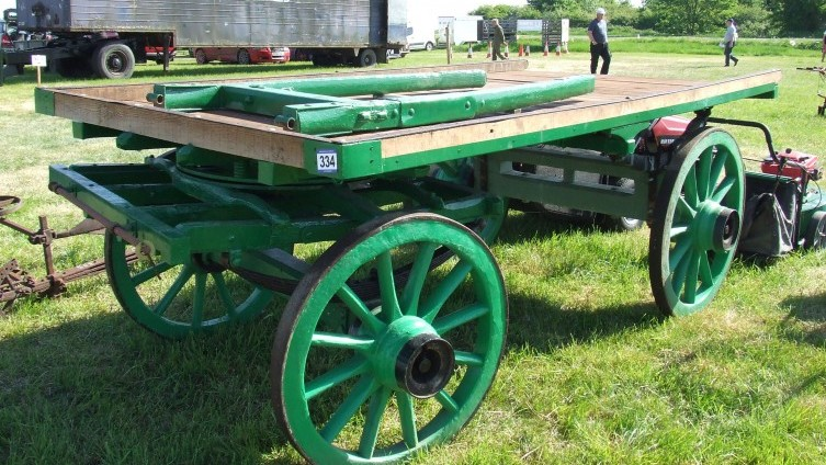 Lot 334: Flat Bed Horse Drawn Wagon SOLD £470